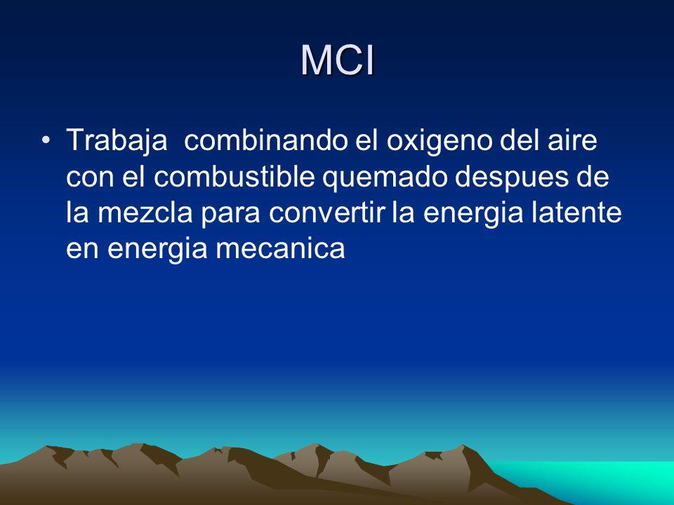 MCI Trabaja combinando el oxigeno del aire con el combustible quemado despues de la mezcla para convertir la energia latente en energia mecanica
