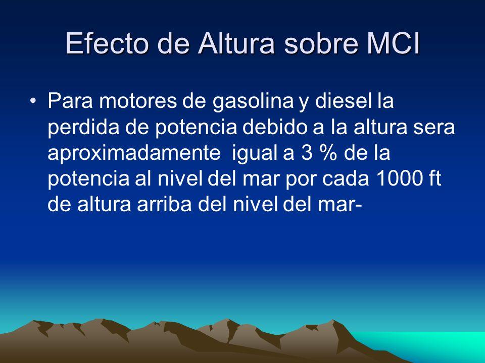 Efecto de Altura sobre MCI Para motores de gasolina y diesel la perdida de potencia debido a la altura sera aproximadamente igual a 3 % de la potencia