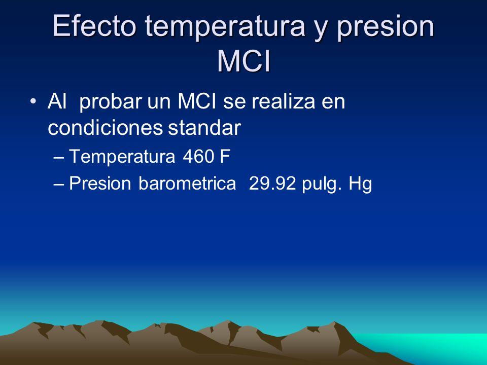 Efecto temperatura y presion MCI Al probar un MCI se realiza en condiciones standar –Temperatura 460 F –Presion barometrica 29.92 pulg. Hg