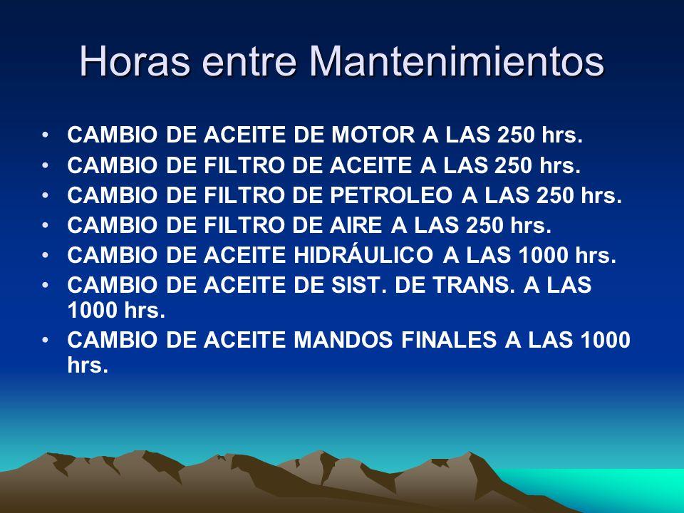 Horas entre Mantenimientos CAMBIO DE ACEITE DE MOTOR A LAS 250 hrs. CAMBIO DE FILTRO DE ACEITE A LAS 250 hrs. CAMBIO DE FILTRO DE PETROLEO A LAS 250 h