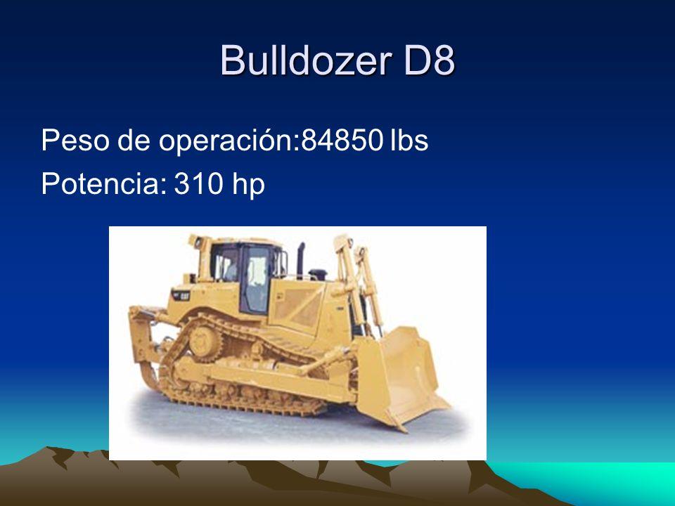 Bulldozer D8 Peso de operación:84850 lbs Potencia: 310 hp
