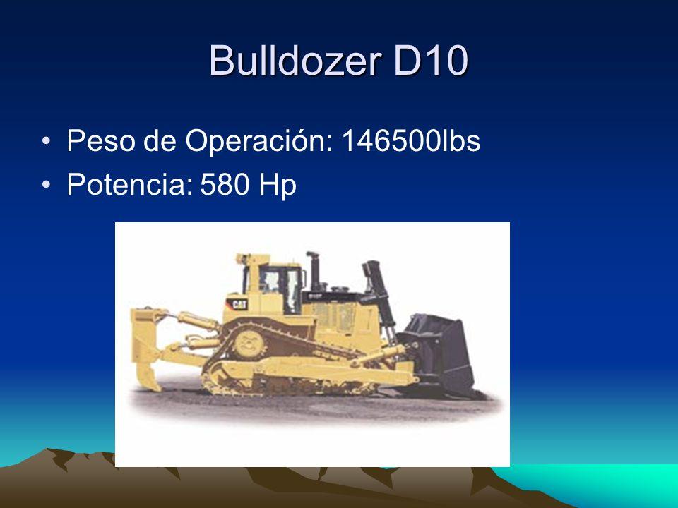 Bulldozer D10 Peso de Operación: 146500lbs Potencia: 580 Hp
