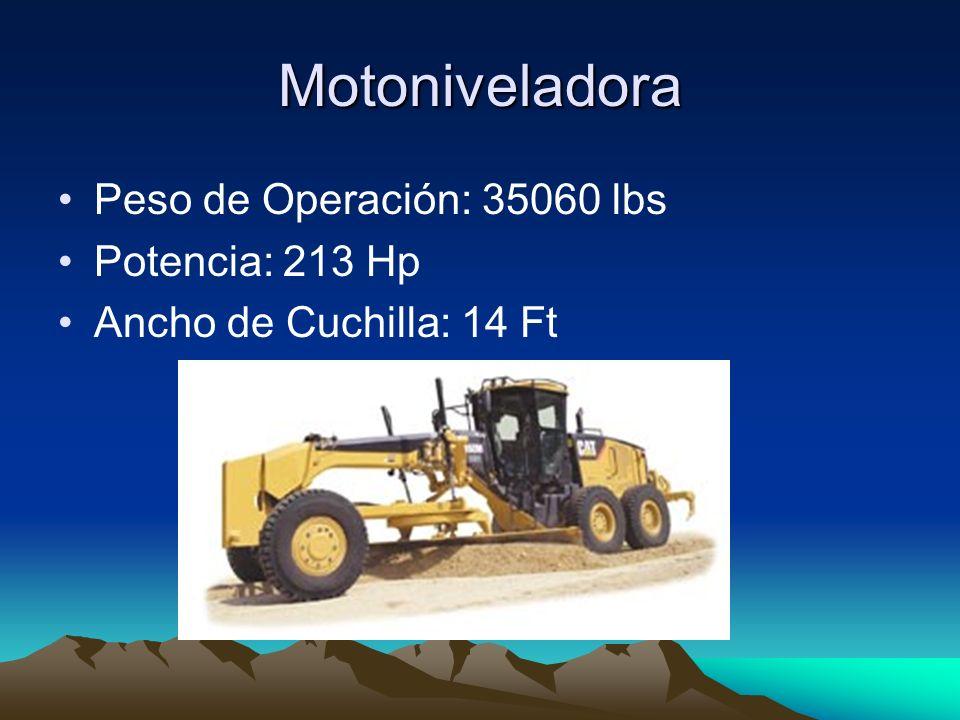 Motoniveladora Peso de Operación: 35060 lbs Potencia: 213 Hp Ancho de Cuchilla: 14 Ft
