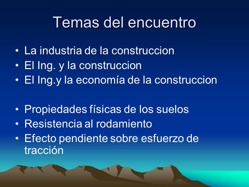 Temas del encuentro La industria de la construccion El Ing. y la construccion El Ing.y la economía de la construccion Propiedades físicas de los suelo