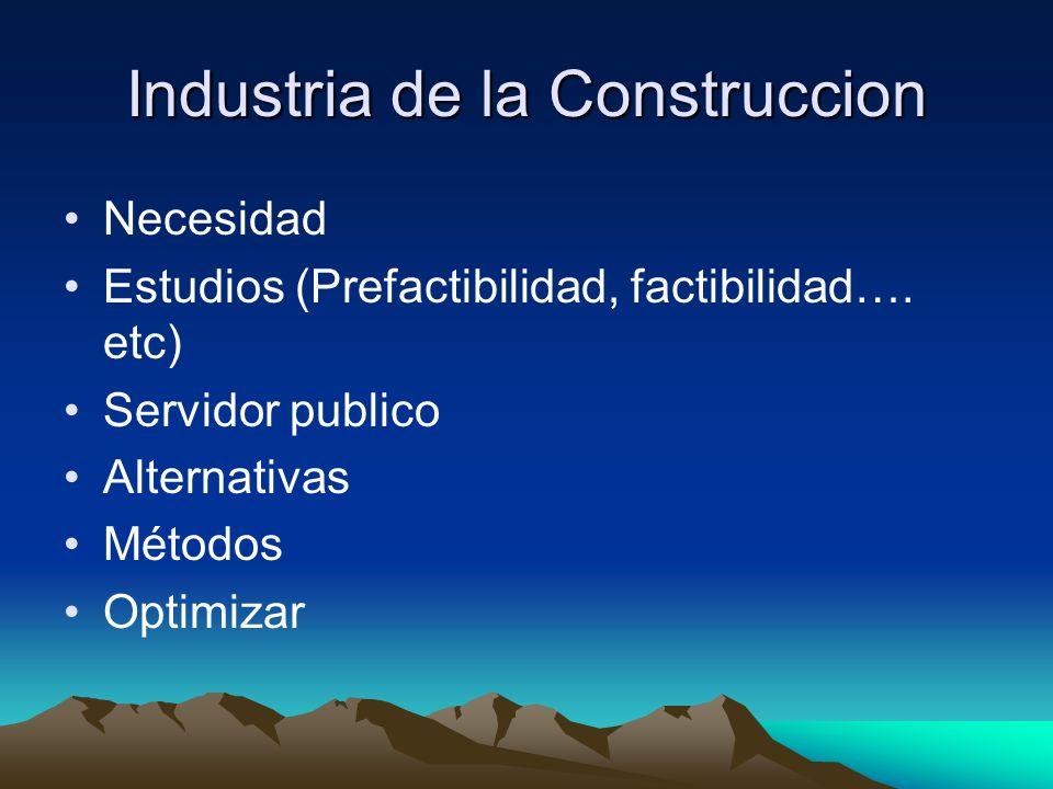 Industria de la Construccion Necesidad Estudios (Prefactibilidad, factibilidad…. etc) Servidor publico Alternativas Métodos Optimizar