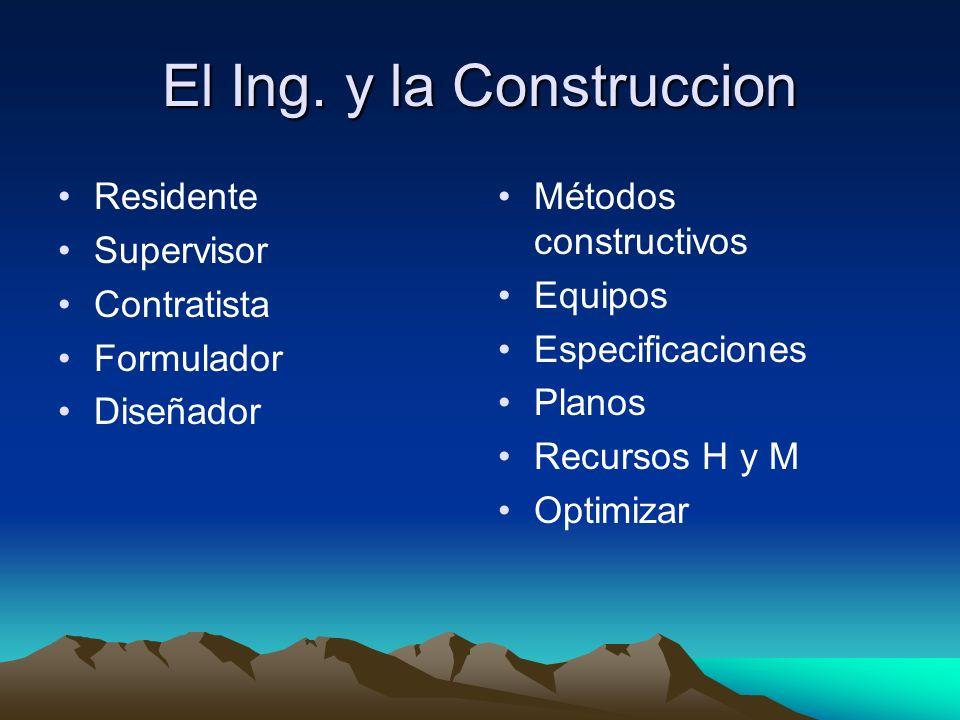 El Ing. y la Construccion Residente Supervisor Contratista Formulador Diseñador Métodos constructivos Equipos Especificaciones Planos Recursos H y M O