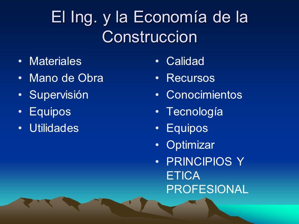 El Ing. y la Economía de la Construccion Materiales Mano de Obra Supervisión Equipos Utilidades Calidad Recursos Conocimientos Tecnología Equipos Opti