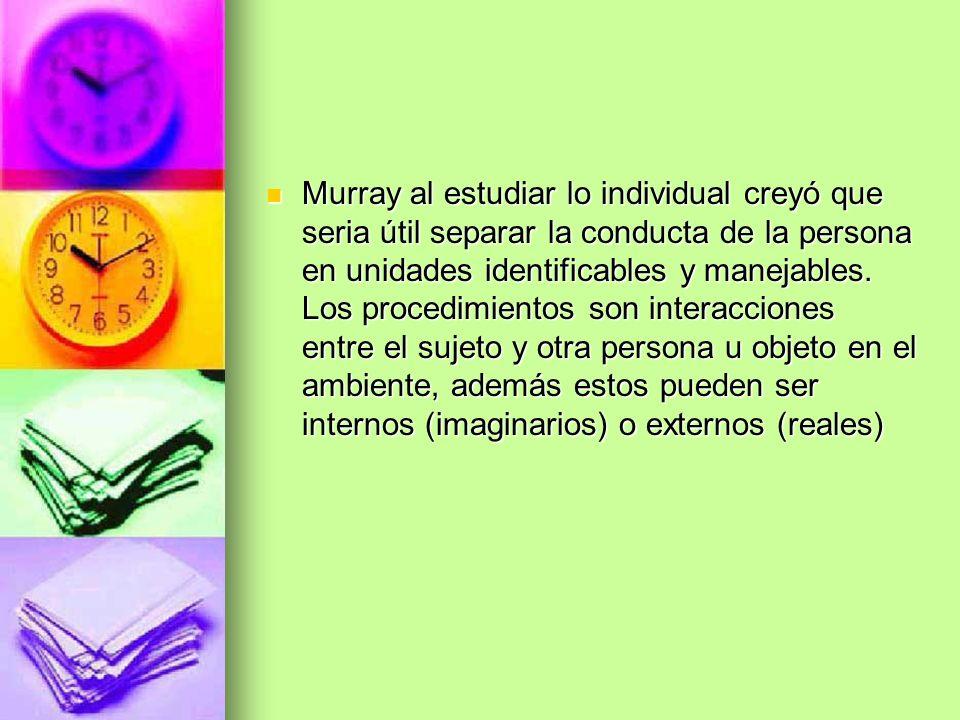 Murray al estudiar lo individual creyó que seria útil separar la conducta de la persona en unidades identificables y manejables. Los procedimientos so