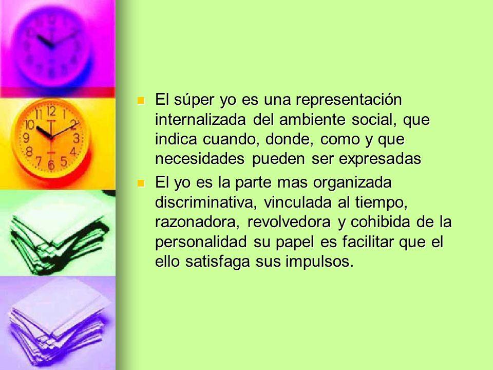 El súper yo es una representación internalizada del ambiente social, que indica cuando, donde, como y que necesidades pueden ser expresadas El súper y