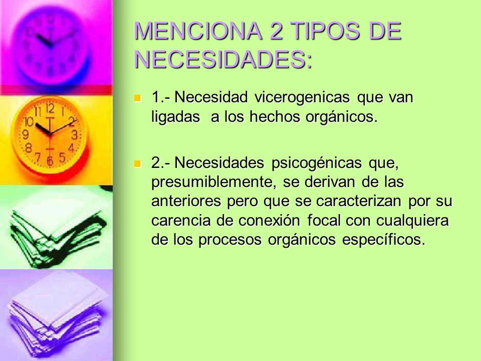 MENCIONA 2 TIPOS DE NECESIDADES: 1.- Necesidad vicerogenicas que van ligadas a los hechos orgánicos. 1.- Necesidad vicerogenicas que van ligadas a los