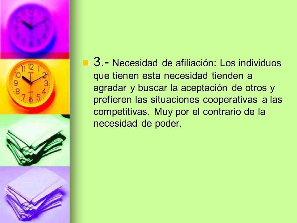 3.- Necesidad de afiliación: Los individuos que tienen esta necesidad tienden a agradar y buscar la aceptación de otros y prefieren las situaciones co