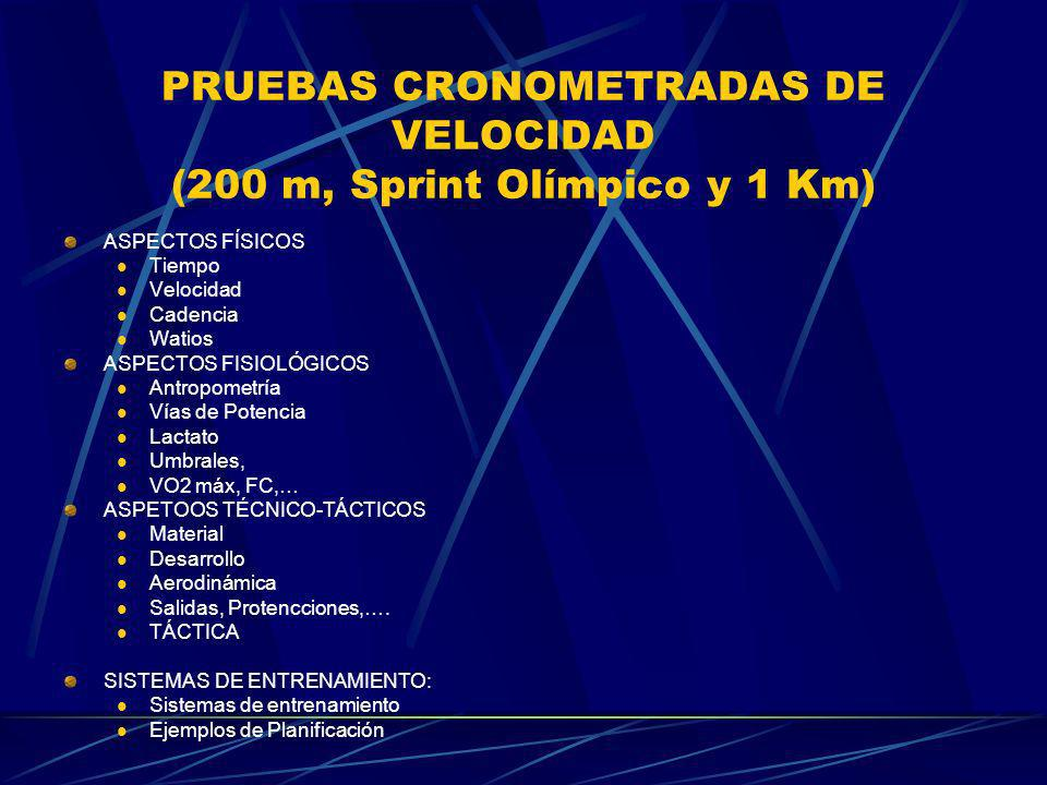 PRUEBAS CRONOMETRADAS DE VELOCIDAD (200 m, Sprint Olímpico y 1 Km) ASPECTOS FÍSICOS Tiempo Velocidad Cadencia Watios ASPECTOS FISIOLÓGICOS Antropometr