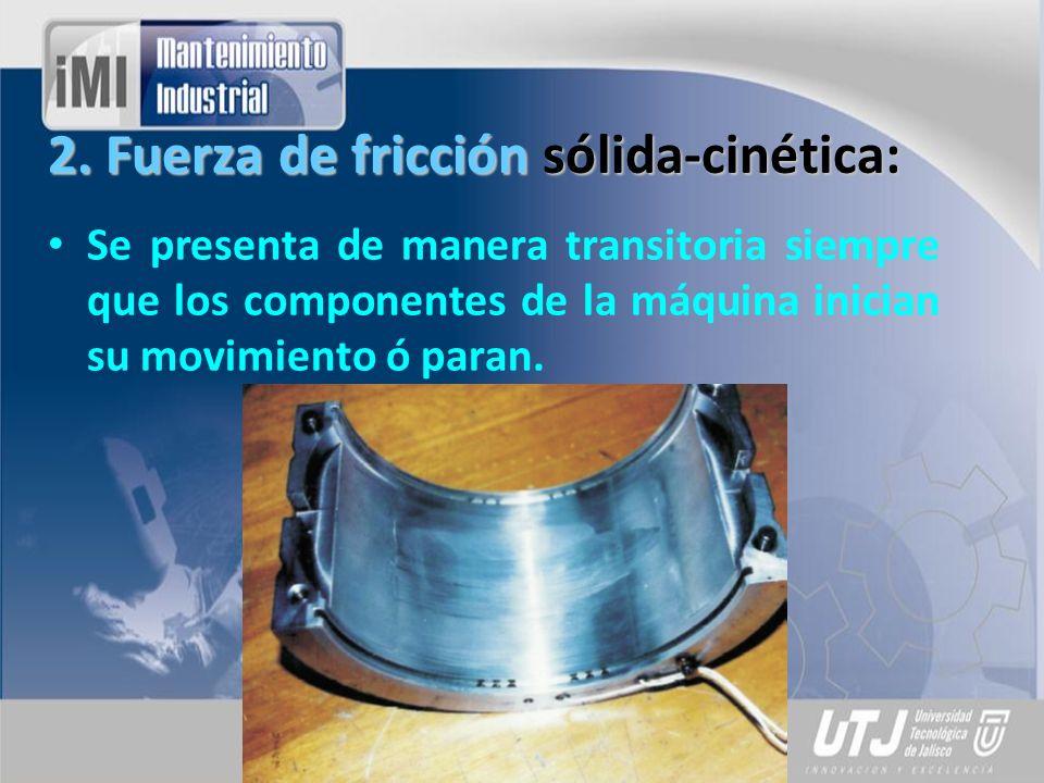 2. Fuerza de fricción sólida-cinética: Se presenta de manera transitoria siempre que los componentes de la máquina inician su movimiento ó paran.