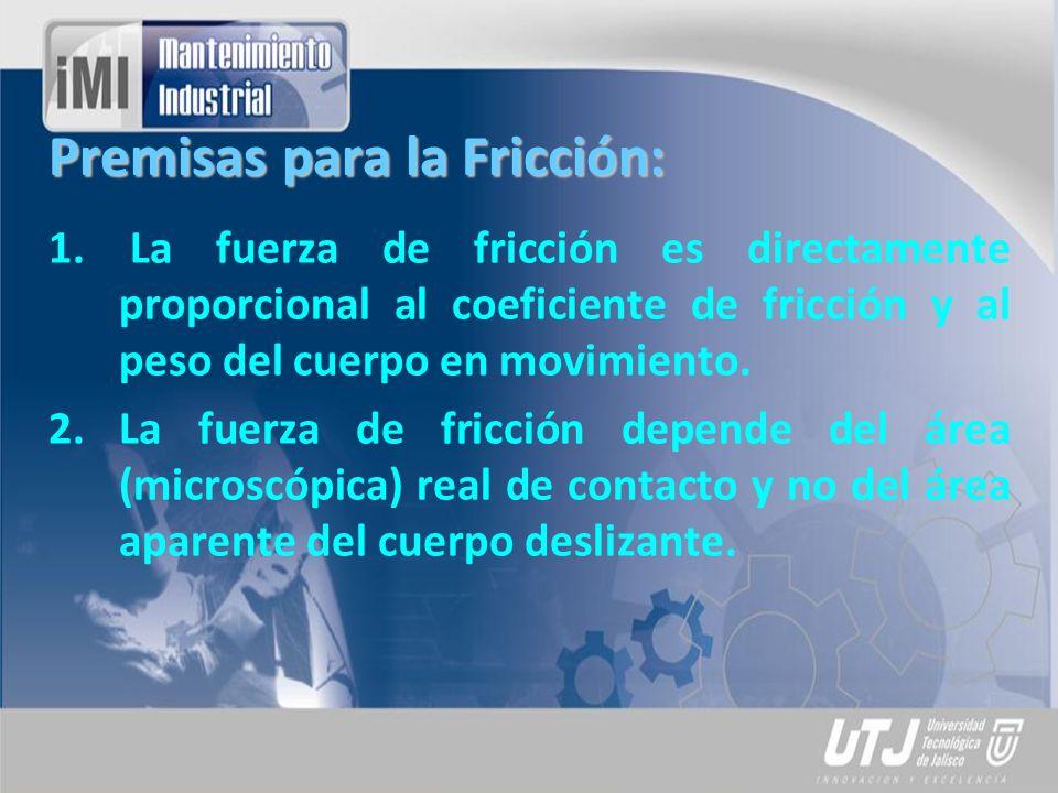Premisas para la Fricción: 1. La fuerza de fricción es directamente proporcional al coeficiente de fricción y al peso del cuerpo en movimiento. 2.La f