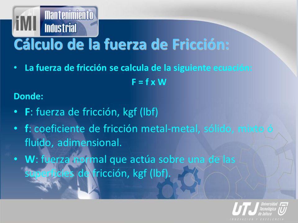 Cálculo de la fuerza de Fricción: La fuerza de fricción se calcula de la siguiente ecuación: F = f x W Donde: F: fuerza de fricción, kgf (lbf) f: coef