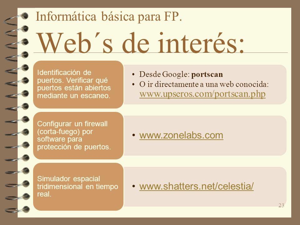 Informática básica para FP. Web´s de interés: Desde Google: portscan O ir directamente a una web conocida: www.upseros.com/portscan.php www.upseros.co