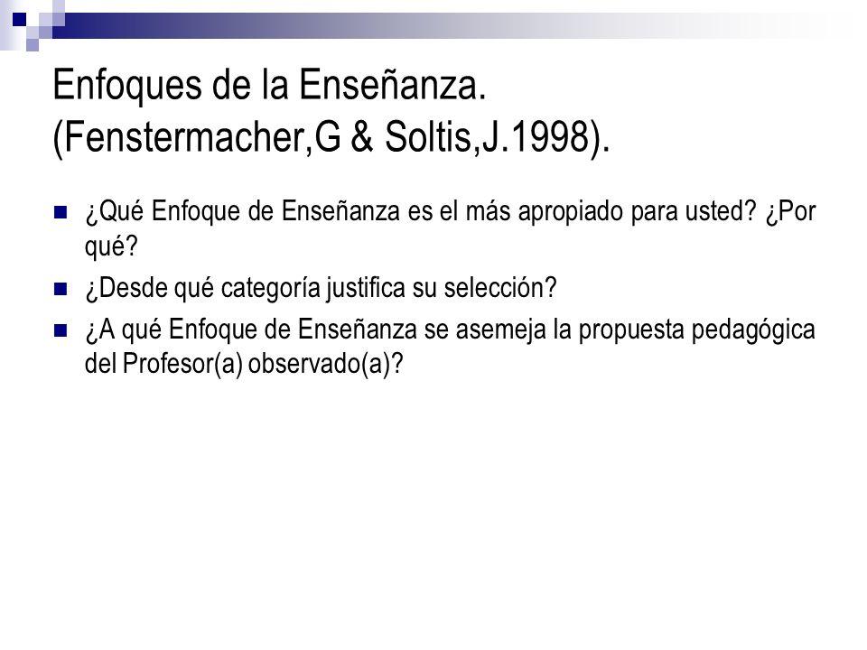 Enfoques de la Enseñanza. (Fenstermacher,G & Soltis,J.1998). ¿Qué Enfoque de Enseñanza es el más apropiado para usted? ¿Por qué? ¿Desde qué categoría