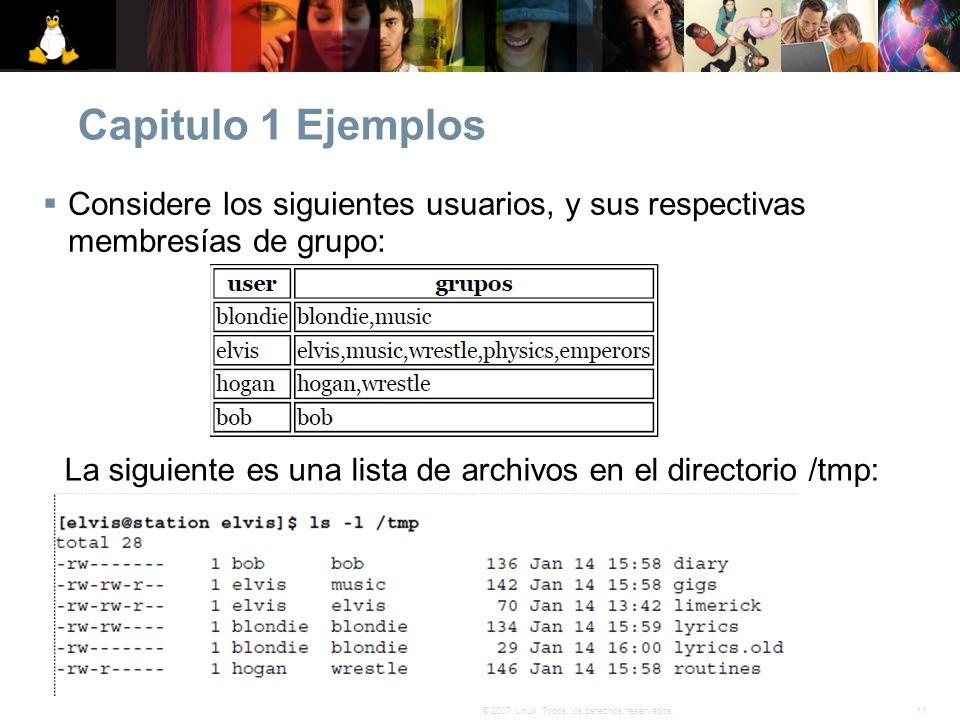 11© 2007 Linux. Todos los derechos reservados. Capitulo 1 Ejemplos Considere los siguientes usuarios, y sus respectivas membresías de grupo: La siguie