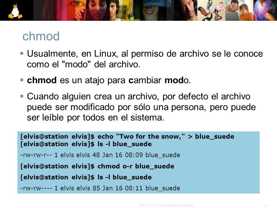 13© 2007 Linux. Todos los derechos reservados. chmod Usualmente, en Linux, al permiso de archivo se le conoce como el