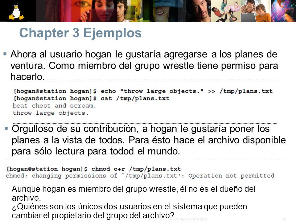 25© 2007 Linux. Todos los derechos reservados. Chapter 3 Ejemplos Ahora al usuario hogan le gustaría agregarse a los planes de ventura. Como miembro d