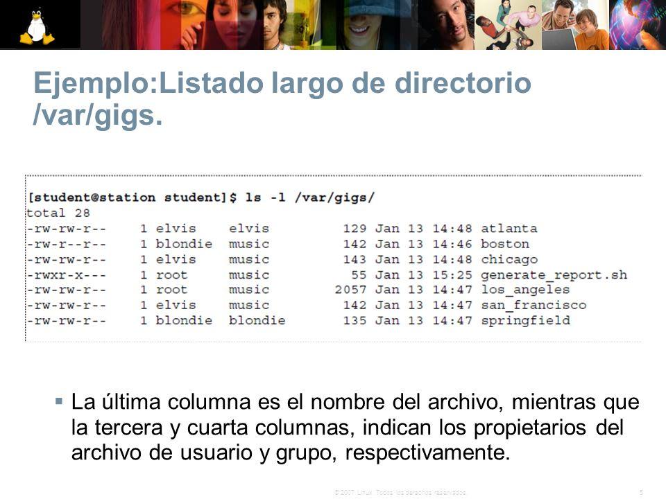 5© 2007 Linux. Todos los derechos reservados. Ejemplo:Listado largo de directorio /var/gigs. La última columna es el nombre del archivo, mientras que