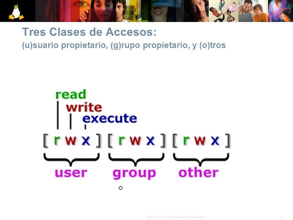 8© 2007 Linux. Todos los derechos reservados. Tres Clases de Accesos: (u)suario propietario, (g)rupo propietario, y (o)tros