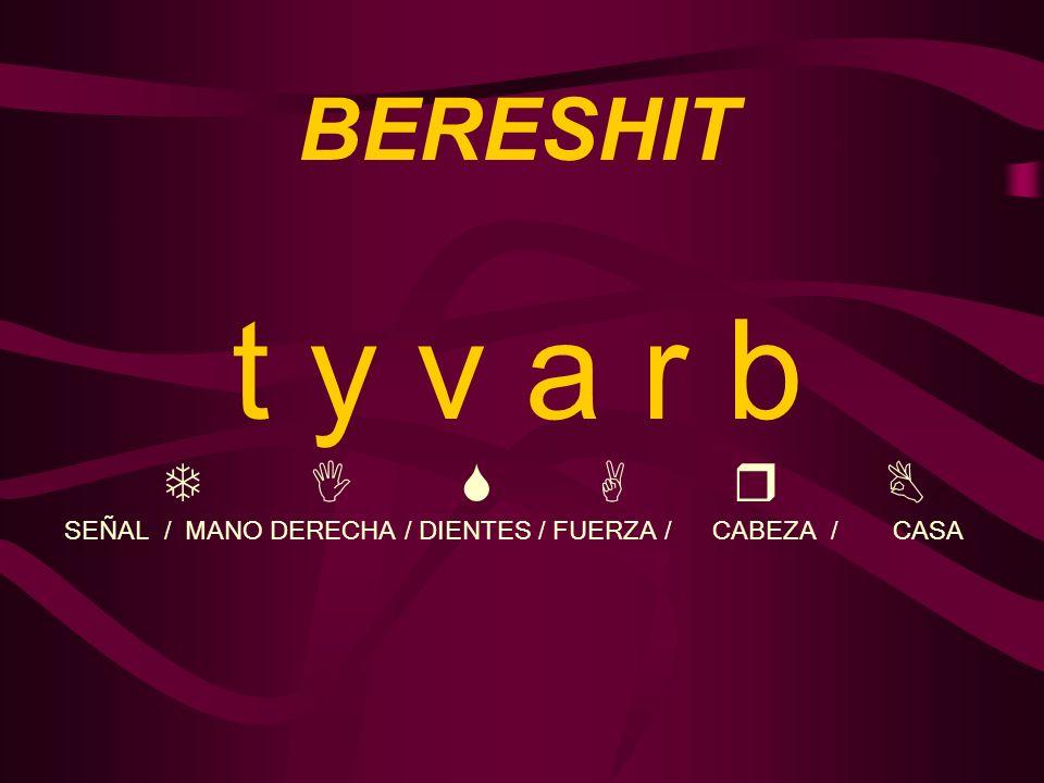 BERESHIT t y v a r b T I S A r B SEÑAL / MANO DERECHA / DIENTES / FUERZA / CABEZA / CASA