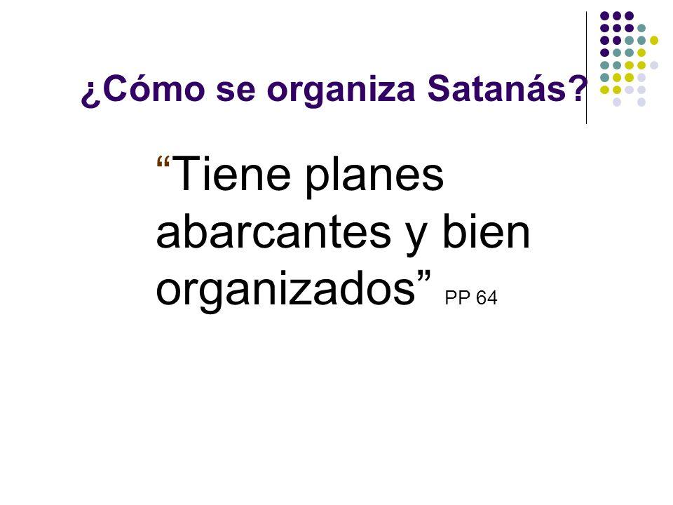 ¿Cómo se organiza Satanás? Satanás tiene una organización militar. Las huestes de Satanás están organizadas en compañías. CS 568