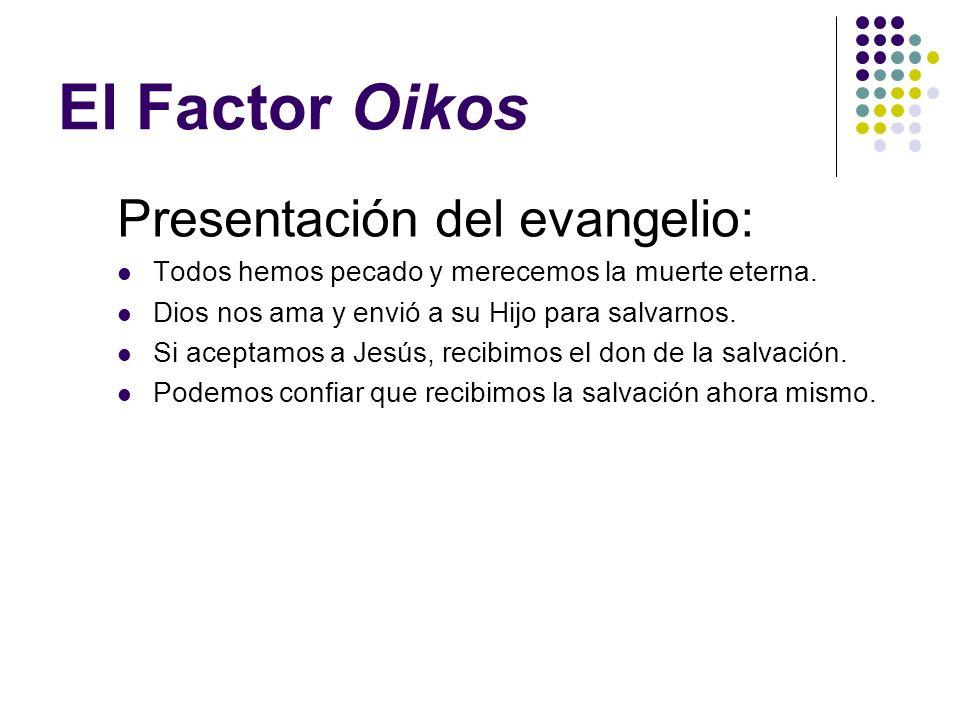 El Factor Oikos El tiempo que pasa con su oikos debe dividirlo en 3 actividades: ¶ 1/3 orando por los miembros. · 1/3 estudiando cómo ganar almas. ¸ 1