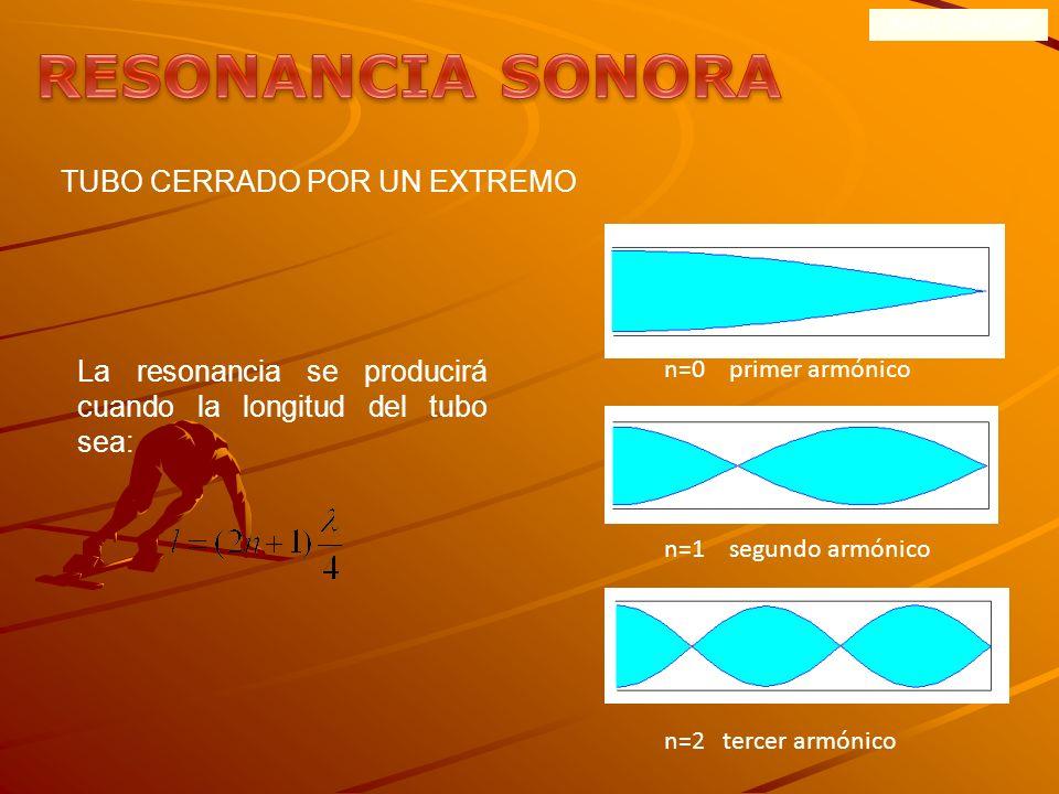 ONDAS SONORAS Las vibraciones de un diapasón de frecuencia f situado cerca del extremo de un tubo abierto producen ondas sonoras en su interior que, a