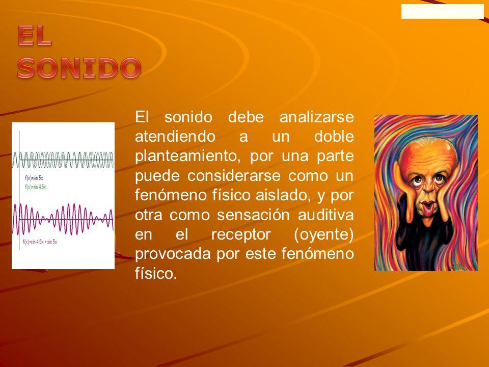 ONDAS SONORAS El sonido debe analizarse atendiendo a un doble planteamiento, por una parte puede considerarse como un fenómeno físico aislado, y por otra como sensación auditiva en el receptor (oyente) provocada por este fenómeno físico.