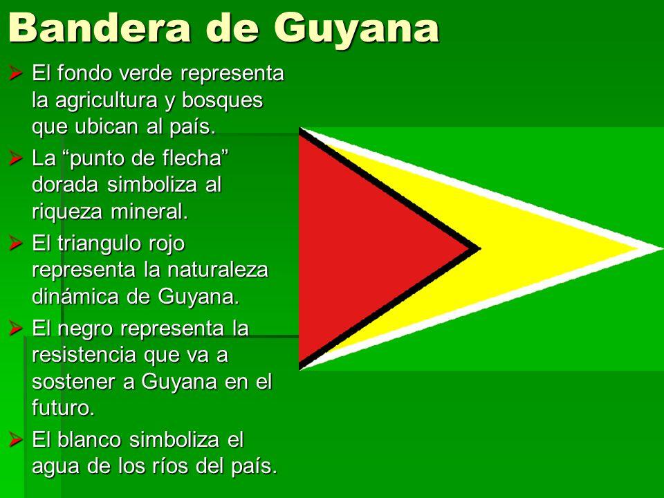 Bandera de Guyana El fondo verde representa la agricultura y bosques que ubican al país. El fondo verde representa la agricultura y bosques que ubican