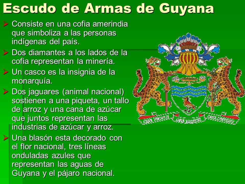 Escudo de Armas de Guyana Consiste en una cofia amerindia que simboliza a las personas indígenas del país. Consiste en una cofia amerindia que simboli