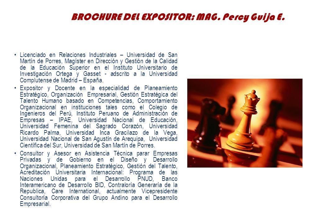 BROCHURE DEL EXPOSITOR: MAG. Percy Guija E.