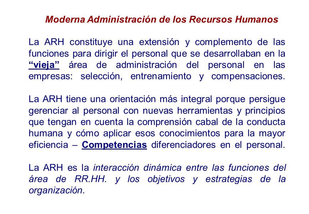 La ARH constituye una extensión y complemento de las funciones para dirigir el personal que se desarrollaban en la vieja área de administración del personal en las empresas: selección, entrenamiento y compensaciones.