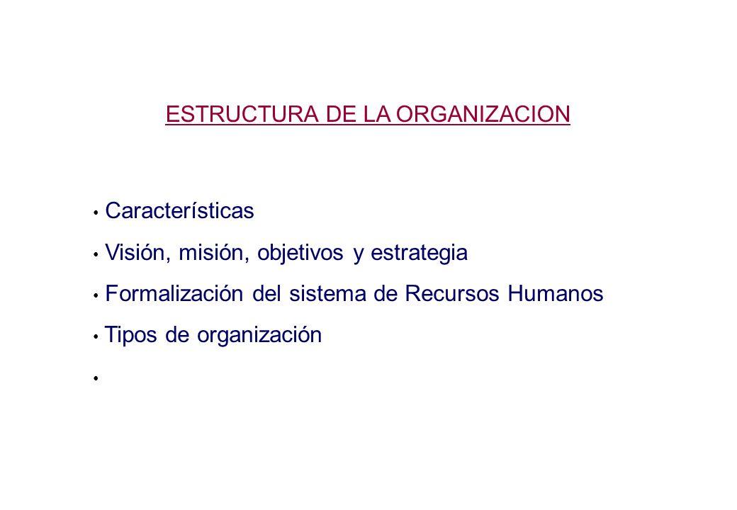 ESTRUCTURA DE LA ORGANIZACION Características Visión, misión, objetivos y estrategia Formalización del sistema de Recursos Humanos Tipos de organización
