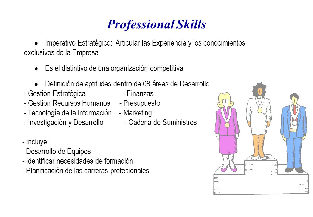 Professional Skills Imperativo Estratégico: Articular las Experiencia y los conocimientos exclusivos de la Empresa Es el distintivo de una organización competitiva Definición de aptitudes dentro de 08 áreas de Desarrollo - Gestión Estratégica - Finanzas - - Gestión Recursos Humanos - Presupuesto - Tecnología de la Información - Marketing - Investigación y Desarrollo - Cadena de Suministros - Incluye: - Desarrollo de Equipos - Identificar necesidades de formación - Planificación de las carreras profesionales