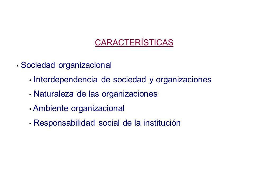 CARACTERÍSTICAS Sociedad organizacional Interdependencia de sociedad y organizaciones Naturaleza de las organizaciones Ambiente organizacional Responsabilidad social de la institución