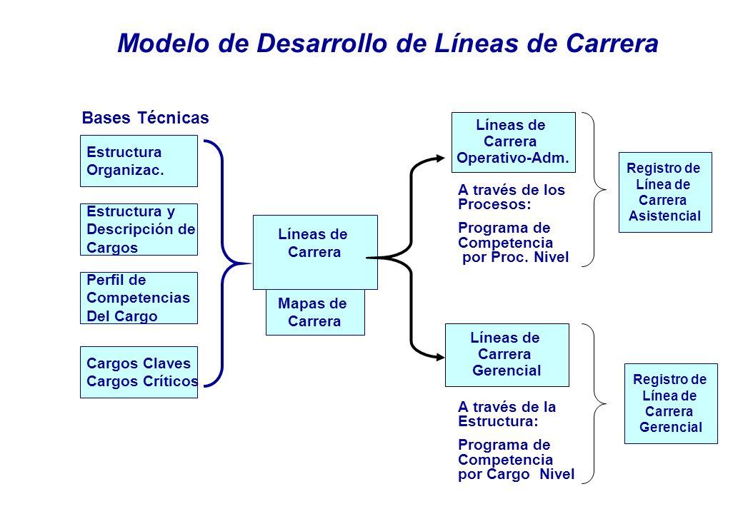 Estructura y Descripción de Cargos Modelo de Desarrollo de Líneas de Carrera Estructura Organizac.