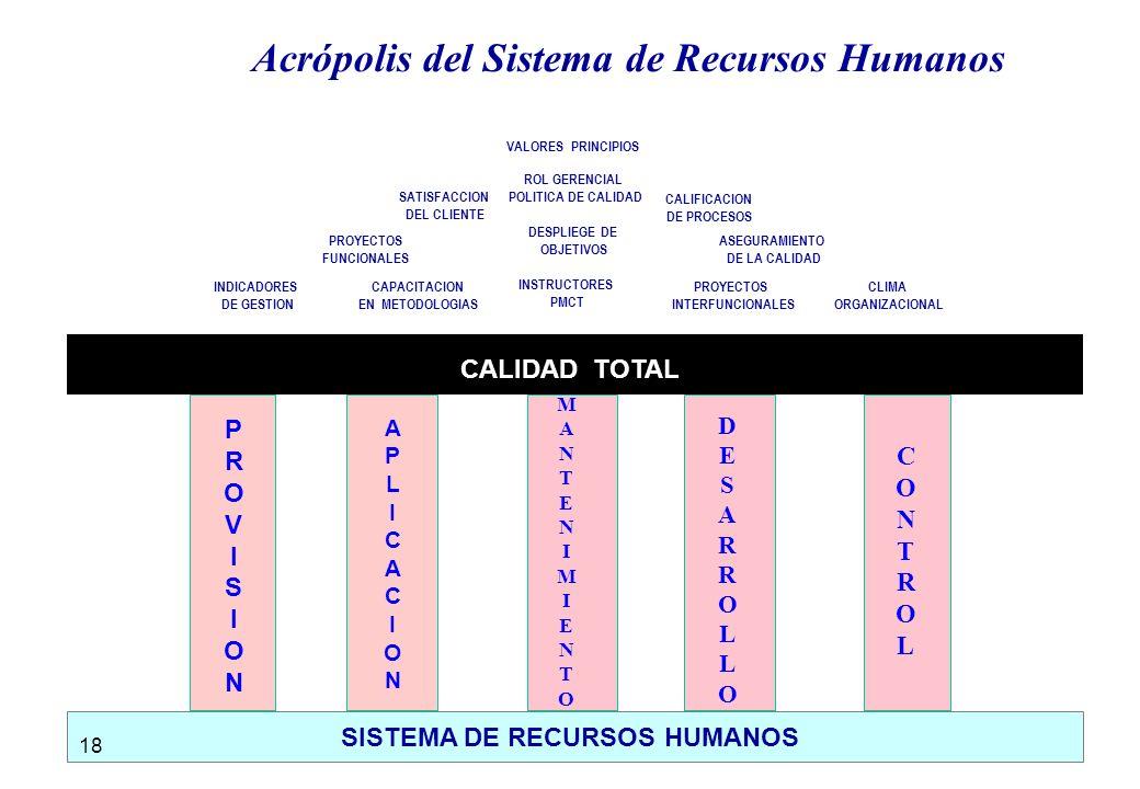 SISTEMA DE RECURSOS HUMANOS CALIDAD TOTAL PROVISIONPROVISION MANTENIMIENTOMANTENIMIENTO DESARROLLODESARROLLO CONTROLCONTROL APLICACIONAPLICACION INDICADORES DE GESTION DESPLIEGE DE OBJETIVOS PROYECTOS FUNCIONALES CALIFICACION DE PROCESOS SATISFACCION DEL CLIENTE ROL GERENCIAL POLITICA DE CALIDAD VALORES PRINCIPIOS CAPACITACION EN METODOLOGIAS ASEGURAMIENTO DE LA CALIDAD CLIMA ORGANIZACIONAL INSTRUCTORES PMCT PROYECTOS INTERFUNCIONALES Acrópolis del Sistema de Recursos Humanos 18