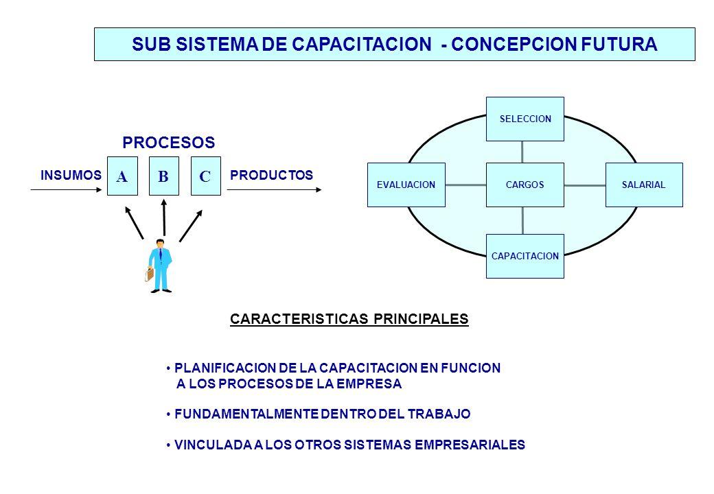 ABC CARACTERISTICAS PRINCIPALES PLANIFICACION DE LA CAPACITACION EN FUNCION A LOS PROCESOS DE LA EMPRESA FUNDAMENTALMENTE DENTRO DEL TRABAJO VINCULADA A LOS OTROS SISTEMAS EMPRESARIALES SUB SISTEMA DE CAPACITACION - CONCEPCION FUTURA PROCESOS PRODUCTOSINSUMOS SELECCION CARGOSEVALUACION CAPACITACION SALARIAL