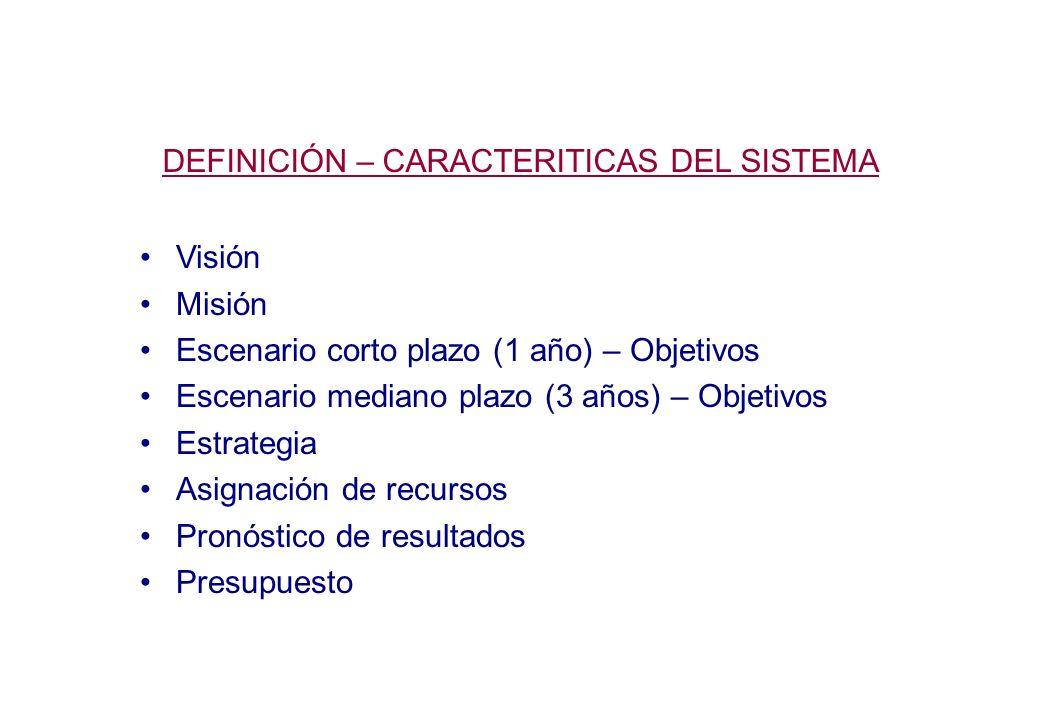 DEFINICIÓN – CARACTERITICAS DEL SISTEMA Visión Misión Escenario corto plazo (1 año) – Objetivos Escenario mediano plazo (3 años) – Objetivos Estrategia Asignación de recursos Pronóstico de resultados Presupuesto
