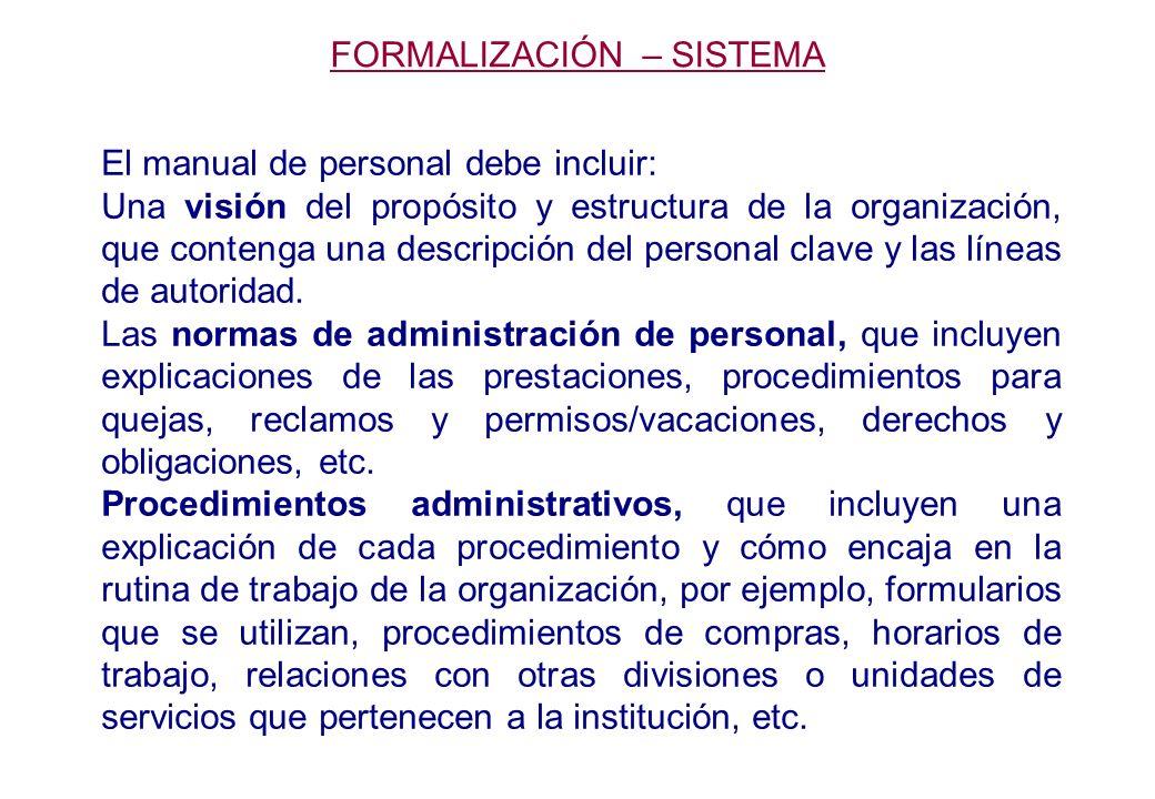 El manual de personal debe incluir: Una visión del propósito y estructura de la organización, que contenga una descripción del personal clave y las líneas de autoridad.