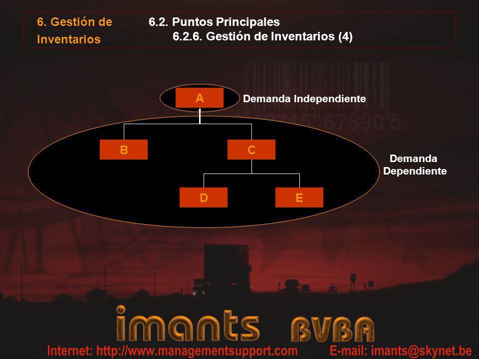 6. Gestión de Inventarios 6.2. Puntos Principales 6.2.6. Gestión de Inventarios (4) A BC DE Demanda Independiente Demanda Dependiente
