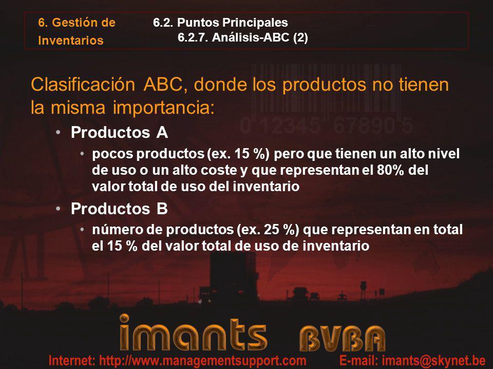 6. Gestión de Inventarios 6.2. Puntos Principales 6.2.7. Análisis-ABC (2) Clasificación ABC, donde los productos no tienen la misma importancia: Produ
