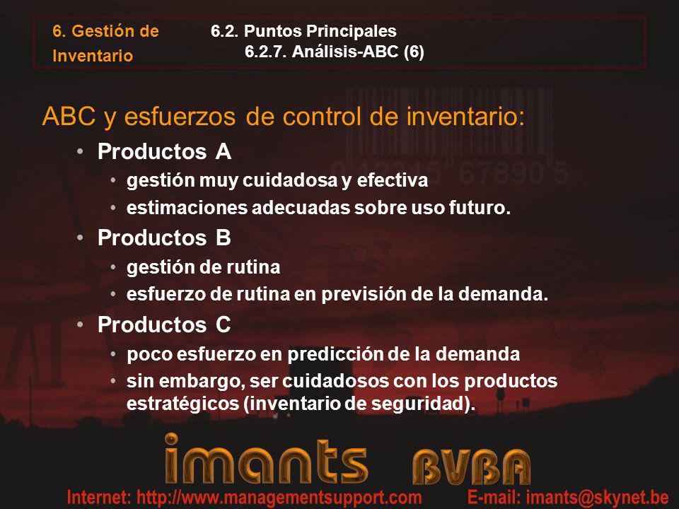 6. Gestión de Inventario 6.2. Puntos Principales 6.2.7. Análisis-ABC (6) ABC y esfuerzos de control de inventario: Productos A gestión muy cuidadosa y