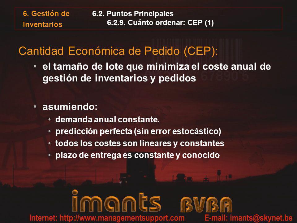 6. Gestión de Inventarios 6.2. Puntos Principales 6.2.9. Cuánto ordenar: CEP (1) Cantidad Económica de Pedido (CEP): el tamaño de lote que minimiza el