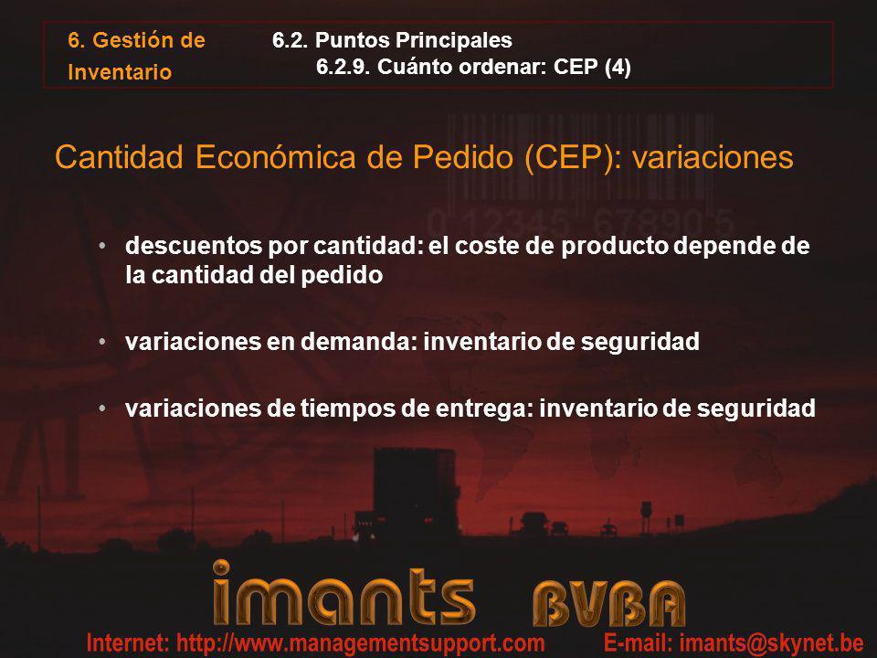 6.2. Puntos Principales 6.2.9. Cuánto ordenar: CEP (4) Cantidad Económica de Pedido (CEP): variaciones descuentos por cantidad: el coste de producto d