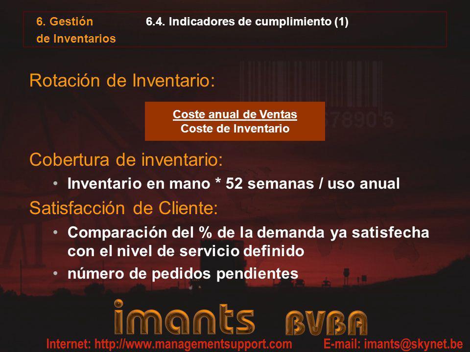 6.4. Indicadores de cumplimiento (1) Rotación de Inventario: Cobertura de inventario: Inventario en mano * 52 semanas / uso anual Satisfacción de Clie