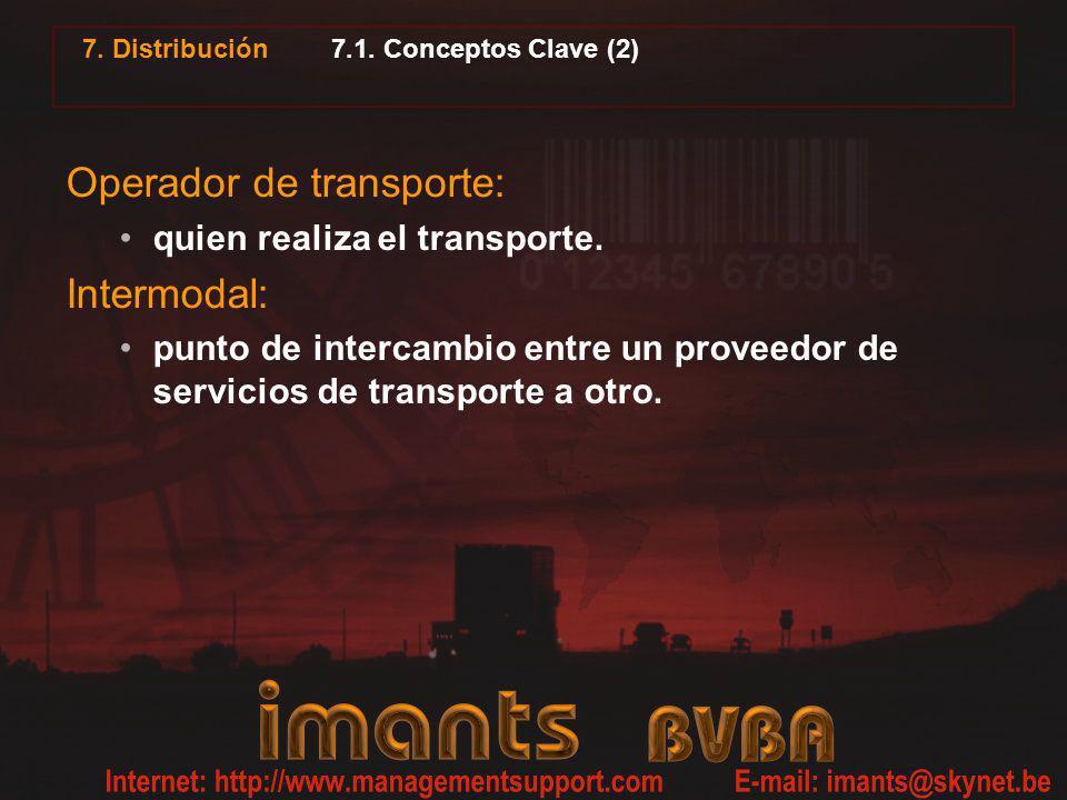 7. Distribución 7.1. Conceptos Clave (2) Operador de transporte: quien realiza el transporte. Intermodal: punto de intercambio entre un proveedor de s